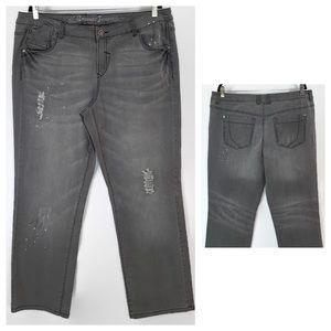 Avenue Gray Distressed Wide Leg Jeans
